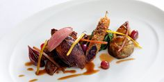 Oven roasted squab pigeon with braised crispy leg and foie gras hollandaise