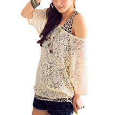 Allegra K Ladies Scoop Neck Lace Sheer Loose Shirt w Tank Top Beige XS
