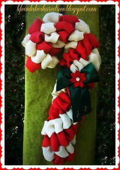 Burlap Candy Cane Wreath Tutorial using Pool Noodle