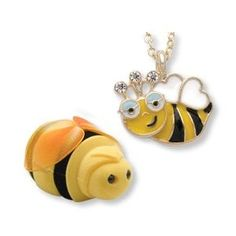 Bumble BEE Girls Kids Necklace Pendant in Shaped Gift Jewelry BOX