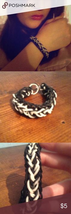 """Zipper Braclet- Black And White This is a rubber band bracelet called the """"Ziper Braclet"""". This was made by me! Will not come with a tag. Glimmergal1115 Jewelry Bracelets"""