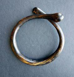Antique Victorian Black Coral Bangle Bracelet Natural Jewelry