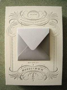 hide invitation info on an envelope on beautiful letterpress cardstock