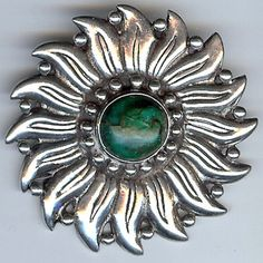HECTOR AGUILAR VINTAGE MEXICO STERLING SILVER FLOWER WITH GREEN STONE PIN
