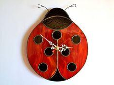 Ladybug wall clock Unique home decor for nursery by ZangerGlass