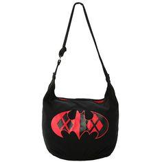 DC Comics Batman Harley Quinn Logo Hobo Bag Hot Topic ($18) ❤ liked on Polyvore featuring bags, handbags and shoulder bags