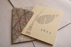 Recycled maps and book pages = cards and envelopes