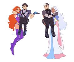 "Dick: ""You'll get used to it"" - Alien Princesses and their human leader thingys - by aer-dna- Starfire, Dick Grayson, Shiro, Allura"