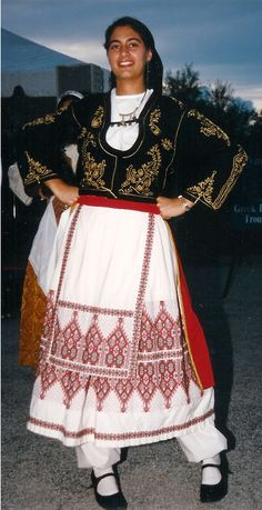 Traditional Greek festive costume, from Creta. Greek Traditional Dress, Traditional Outfits, Costumes Around The World, Folk Clothing, Greek Culture, Dance Costumes, Greek Costumes, Folk Costume, Beautiful Costumes