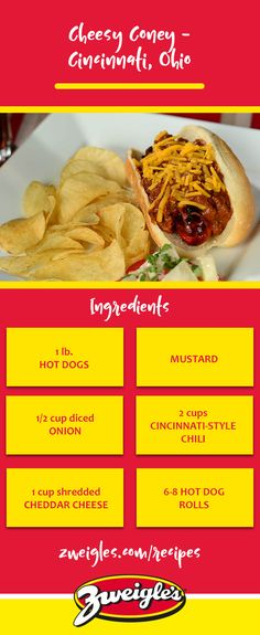 When in doubt, add cheese! We love a classic chili-cheese dog, but this Cincinnati-inspired version includes a few additions that bring out even more flavor. A nice twist to a classic.    www.zweigles.com facebook.com/zweigles #zweigles #hotdog #recipe #cheesy