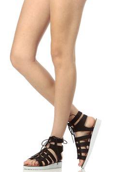 b891559c37d176 Black Faux Leather Lace Up Lug Sandal   Cicihot Sandals Shoes online store  sale Sandals
