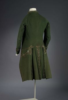 Man's Formal Suit Comprising Coat, Waistcoat & Breeches. English (?), 1770-1780. (View 2)