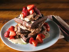 Dark Chocolate Waffles with White Chocolate Custard Sauce and Chocolate-Espresso Whipped Cream : Recipes : Cooking Channel White Chocolate Sauce, Chocolate Custard, Chocolate Waffles, Chocolate Espresso, Chocolate Chocolate, Recipes With Whipping Cream, Cream Recipes, Brunch Recipes, Dessert Recipes