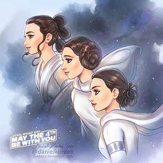 Star Wars: Rey, Leia and Padme by daekazu on DeviantArt