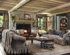Traditional Living Room Design, very cozy, love the big fireplace!