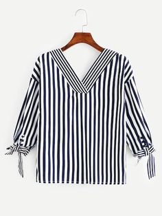 Knot Side Striped Blouse -SheIn(Sheinside) - Outfits for Work Bluse Outfit, Tunic Designs, Blouse Models, Casual Outfits, Fashion Outfits, Tunic Pattern, Blouse Styles, Tunic Tops, Clothes