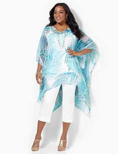 Island Getaway Poncho: Make your great escape to a tropical locale with our sheer and silky poncho in an island-perfect palm tree print. V-neckline. Draping sleeves. Asymmetrical hem. catherines.com #catherines #plussizefashion #summerstyle