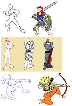 Those are a few characters made on MS paint to an RPG board game. Estes são alguns personagens feitos no Paint e posteriormente usados num jogo de RPG de tabuleiro.