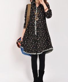 Black cotton dress long sleeve dress maxi by originalstyleshop, $65.00