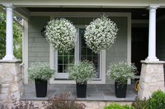 """""""Whether hung from the eaves of your house or on a hook out in the yard's landscaping itself, flowering baskets are a beautiful way to offer instant, fresh color and appeal to your home. Bonus: They can be changed up every year for a fresh new look to your front yard."""