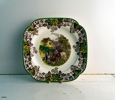 Vintage Copeland Spode England Spode's Byron Pattern Pastoral Brown Transferware Square Serving Plate. Dated 1958 letter J (for January) by Littlemix on Etsy