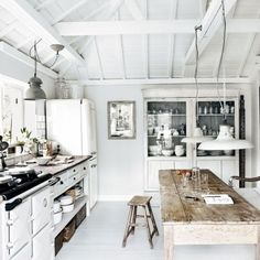 #White #kitchen #design with #wooden #walls! #industial #lighting and #rustic #table