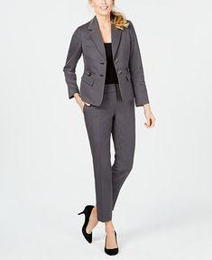 Le Suit Womens Plus Two-Button Professional Pant Suit