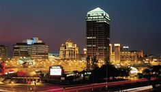 The buildings of Sandton lit up at night. #city #skyline #johannesburg