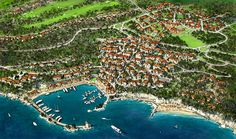 Aerial plan. By EDSA of Lustica Bay Resort. Incredible masterplanning