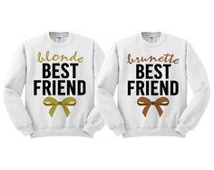 White Crewneck - BBF BOWS - Blonde Best Friend Brunette Best Friend Sweatshirt Sweater Jumper Pullover by TeesAndTankYouShop on Etsy https://www.etsy.com/listing/236490771/white-crewneck-bbf-bows-blonde-best