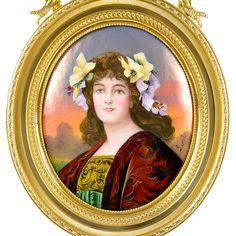 Antique French Limoges Enamel Miniature Portrait Set In A Gilt Bronze Frame, Artist Signed - France   c. 19th Century