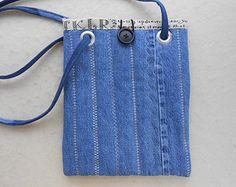 Petit fourre-tout de jeans en denim recyclé - cabas de tablette, fait à la main petit livre de poche, recyclé, sac à main, sac, Cabas denim, pochette tablette