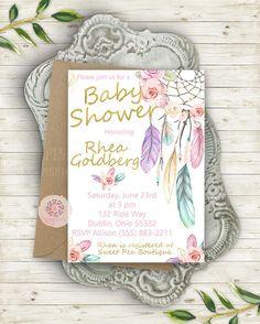 cb65edc8b59 Boho Dreamcatcher Tribal Invite Invitation Bohemian Girl Birthday Party  Baby Bridal Shower Printable Announcement