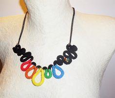 Crochet Necklace Rainbow Waves by vanessahandmade on Etsy