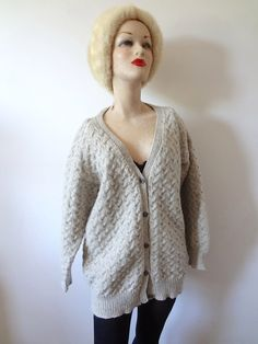 Vintage Wool Cardigan Sweater - women's dove grey cable knit v-neck by NESTdesignstudio on Etsy