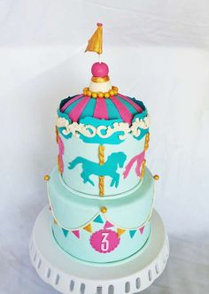 Vintage carousel Birthday Party cake!  See more party planning ideas at CatchMyParty.com!