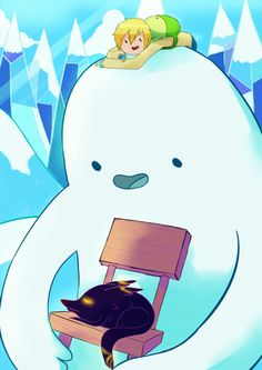 Snow Golem and fire wolf cub from the Adventure Time episode 'Thank You'.