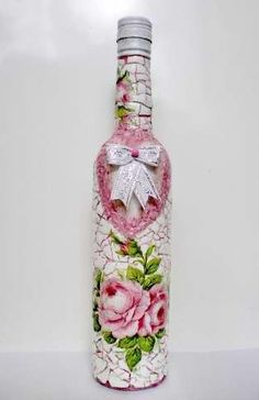decoupage bottle                                                                                                                                                      Mais