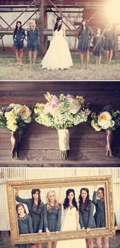Bridesmaid photo wedding dress outdoors flowers country bride rustic