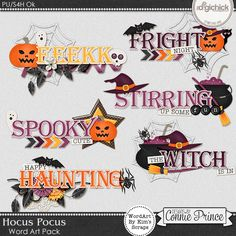 Hocus Pocus - WordArt Pack by Kim using Hocus Pocus by Connie Prince. Includes 6 cluster wordart images, saved in PNG format. Shadows are included. Scrap for hire / others ok.