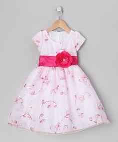 White & Fuchsia Flower Organza Dress - Infant, Toddler & Girls