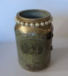 Tea light candle burner handcrafted decoupaged vintage shabby