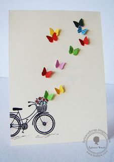 Birthday gifts diy cards 70 New ideas Handmade Birthday Cards, Greeting Cards Handmade, Diy Birthday, Birthday Gifts, Tarjetas Diy, Bicycle Cards, Card Drawing, Bday Cards, Butterfly Cards