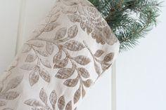 Christmas Stockings Velvet stocking Taupe Stocking by GreenwoodStore