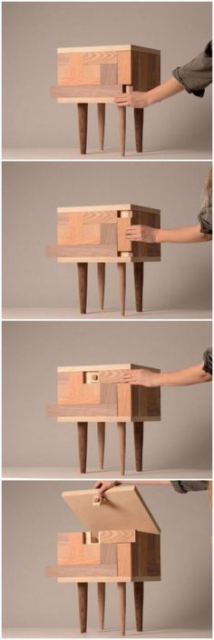 Puzzle hidden storage stool