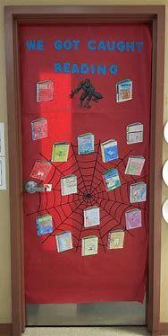We_Are_Teachers_Fall_Bulletin_Board_Reading - hashtags} Superhero Classroom Door, Kindergarten Classroom Door, Superhero Bulletin Boards, Reading Bulletin Boards, Fall Bulletin Boards, Kindergarten Reading, Superhero School, Fall Classroom Door, Ks1 Classroom