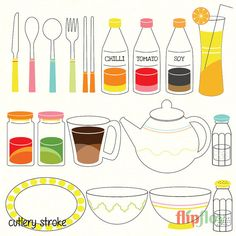 Kitchen Cutlery Instant Download  18 Cartoon Doodle by FlipfloyArt