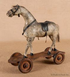 Athco composition horse pull toy, early C. Attached to an old roller skate. Antique Rocking Horse, Vintage Horse, Rocking Horses, Primitive Antiques, Vintage Antiques, Primitive Bedroom, Primitive Homes, Primitive Country, Toys In The Attic