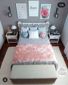 157 cozy teen girl bedroom design trends for 2019 58 Teen Bedroom Designs, Cute Bedroom Ideas, Cute Room Decor, Teen Room Decor, Small Room Bedroom, Room Decor Bedroom, Girls Bedroom, Modern Bedroom, Unique Teen Bedrooms