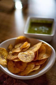 Plantain chips & salsa verde from Mango Peruvian. We had...3 of these.